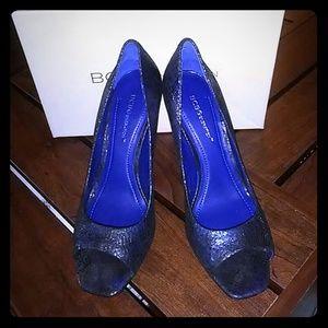 BCBGeneration blue snake print heels